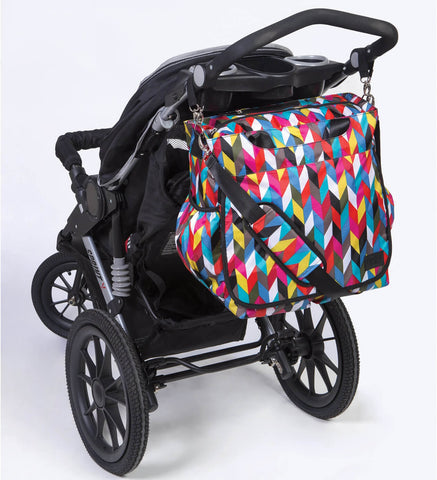 Monogrammed Diaper Bag Tote - Colorful Zig Zag - Personalized Babies