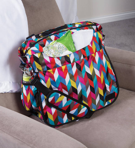Image of Monogrammed Diaper Bag Tote - Colorful Zig Zag - Personalized Babies