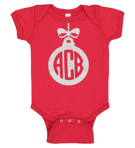 Image of Christmas Ornament Onesie with Monogram - Personalized Babies