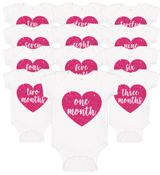 Heart Monthly Onesie Set (12) - Personalized Babies