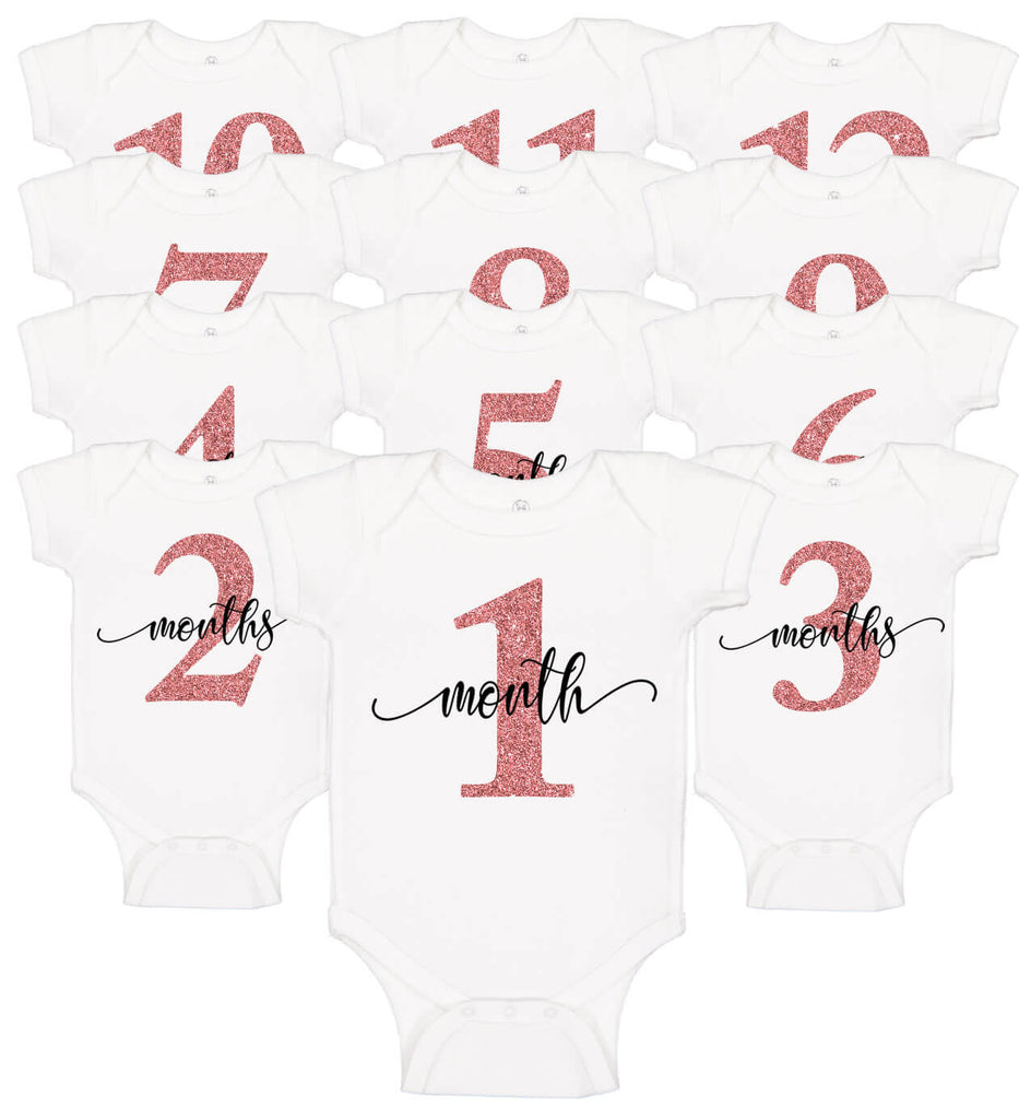 Monthly Onesie Set (12) - Personalized Babies
