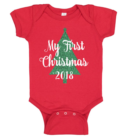 """My First Christmas"" Onesie with Large Tree - Personalized Babies"
