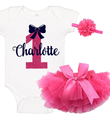 Image of 1st Birthday Onesie Set with Ruffle Bloomer & Headband - Bow - Personalized Babies