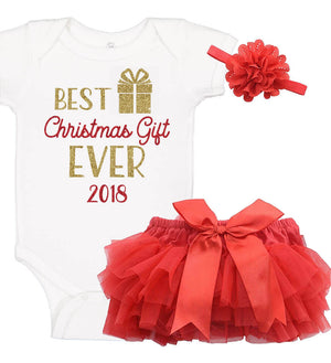 """Best Christmas Gift Ever"" Onesie Set with Ruffle Bloomer & Headband"