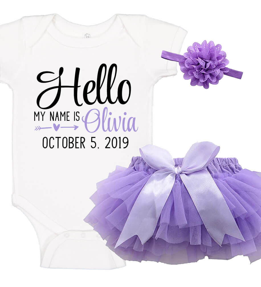 Birth Announcement Onesie Set with Ruffle Bloomer & Headband - Personalized Babies