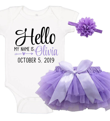 Image of Birth Announcement Onesie Set with Ruffle Bloomer & Headband - Personalized Babies