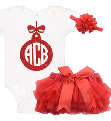 Monogrammed Christmas Ornament Onesie Set with Ruffle Bloomer & Headband