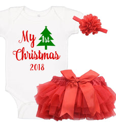 My First Christmas Onesie Set with Ruffle Bloomer & Headband
