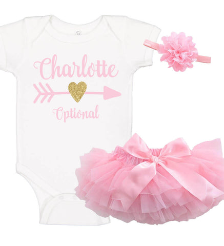 Image of Baby Girl Onesie Set with Ruffle Bloomer & Headband - Personalized Babies