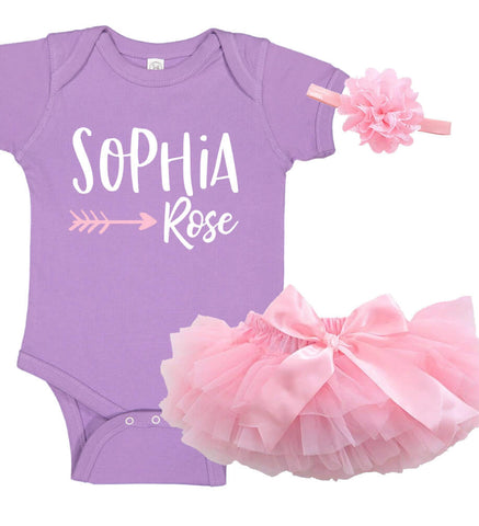 Onesie Set with Ruffle Bloomer & Headband - Name - Personalized Babies
