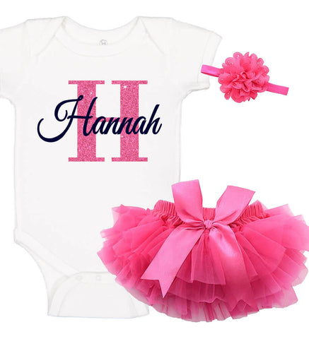 Onesie Set with Ruffle Bloomer & Headband - Name & Initial