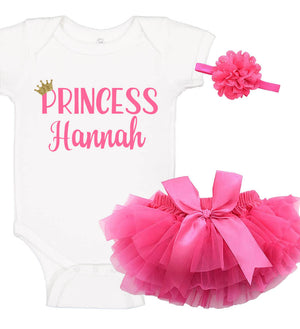 """Princess"" Onesie Set with Ruffle Bloomer & Headband - Personalized Babies"