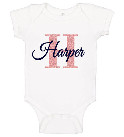 Image of Baby Girl Bodysuit with Name & Initial