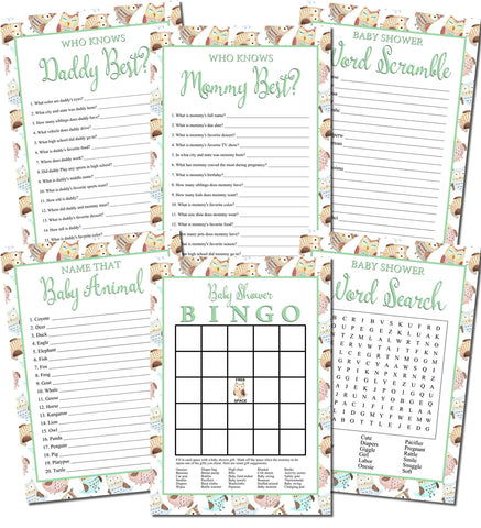 Printable Owl Baby Shower Games Set (6)