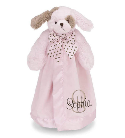 Pink Dog Snuggle Blanket with Name & Initial - Personalized Babies