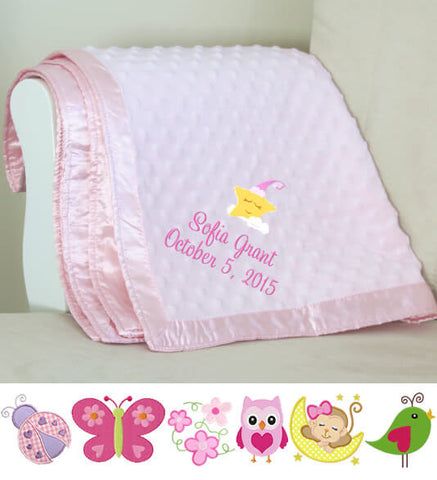 Image of Pink Dot Baby Blanket with Name & Birthdate