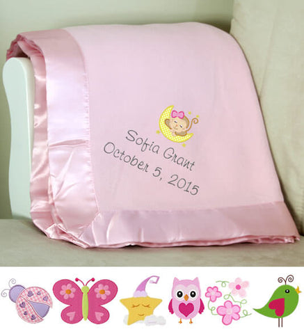 Image of Pink Plush Baby Blanket with Name & Birthday