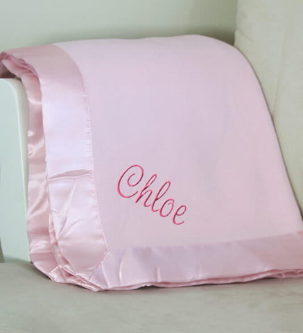 Pink Plush Baby Girl Blanket with Name
