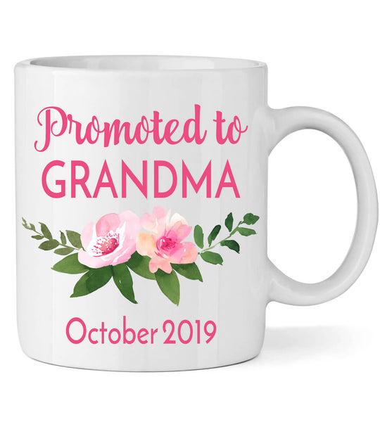Promoted to Grandma Mug with Flowers - Personalized Babies