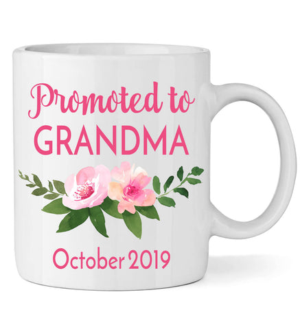 Image of Promoted to Grandma Mug with Flowers - Personalized Babies