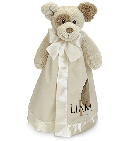 Tan Dog Snuggle Blanket with Name & Initial - Personalized Babies