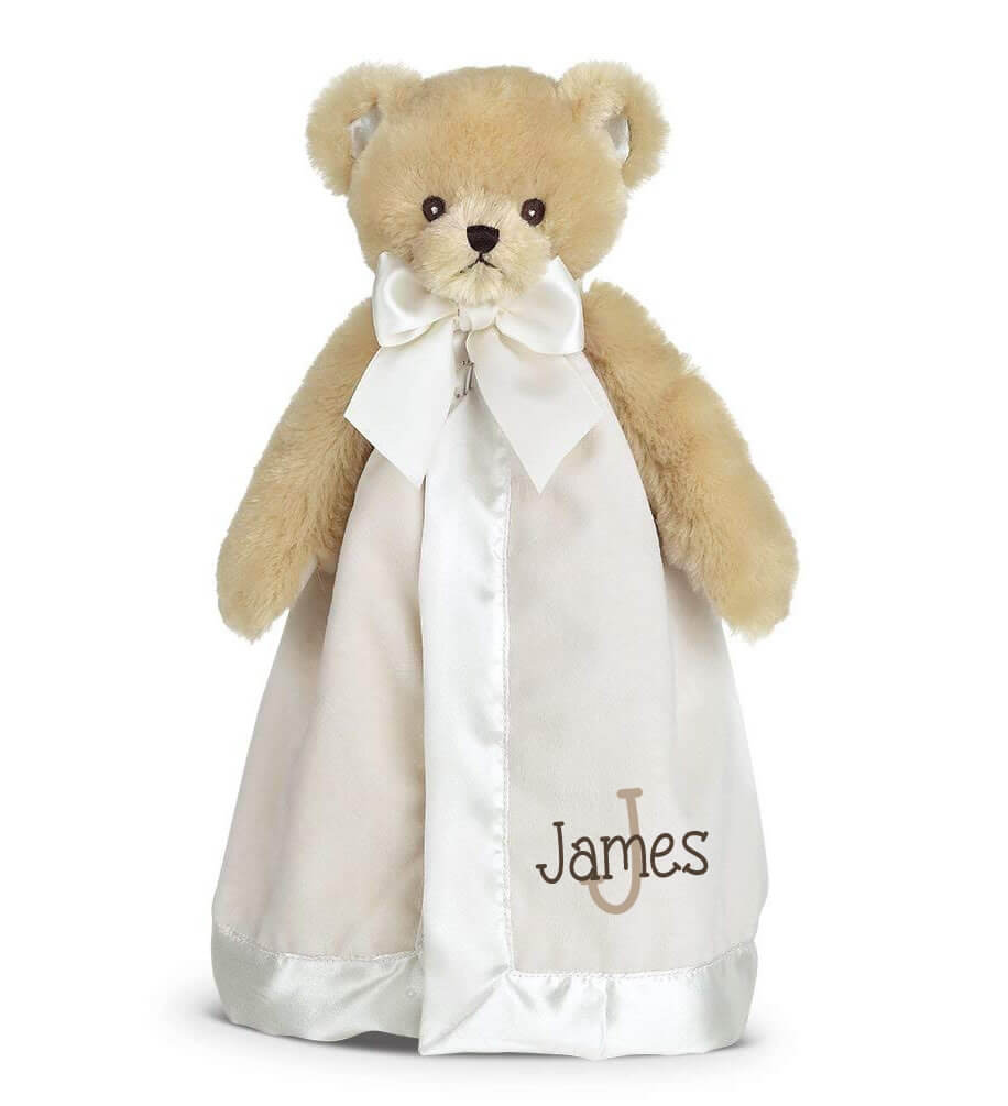 Teddy Bear Snuggle Blanket with Name & Initial - Personalized Babies