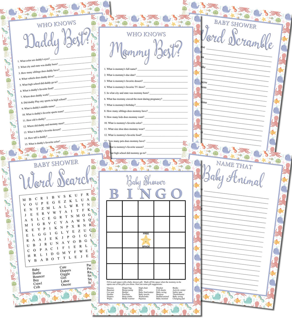Printable Under the Sea Baby Shower Games Set (6)