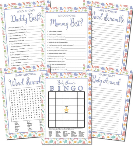 Image of Printable Under the Sea Baby Shower Games Set (6)