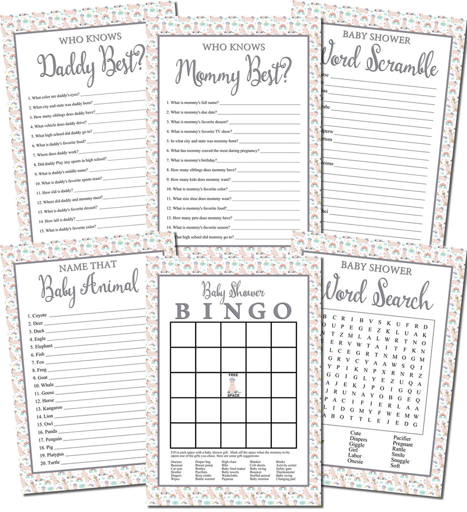 Printable Unicorn Baby Shower Games Set (6)