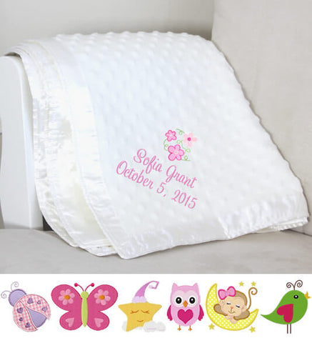 Image of White Dot Baby Girl Blanket with Name & Date - Personalized Babies
