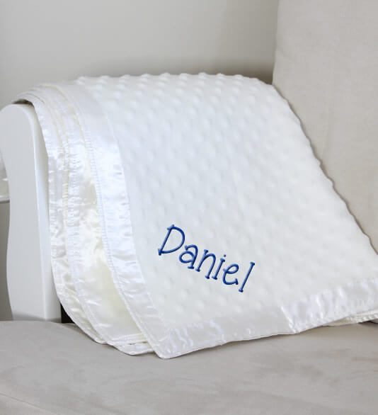 White Dot Baby Blanket with Name - Personalized Babies