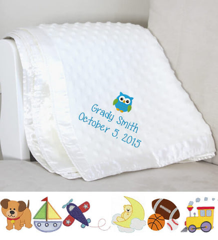 Image of White Dot Baby Boy Blanket with Name & Birthday