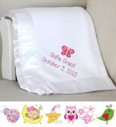 White Plush Baby Girl Blanket with Name & Birthday