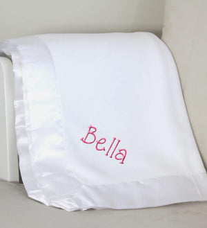 White Plush Baby Blanket with Name