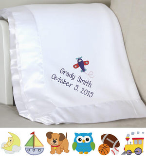 White Plush Baby Boy Blanket with Name & Birthday