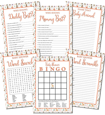 Printable Woodlands Baby Shower Games Set (6)