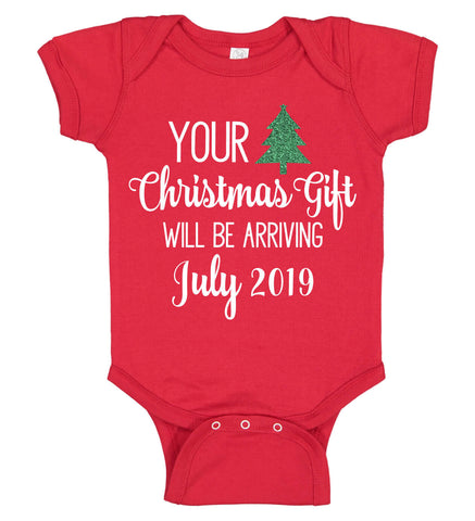 "Image of ""Your Christmas Gift will be Arriving"" Pregnancy Announcement Onesie - Personalized Babies"