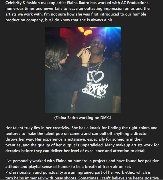 AZ Productions-who have worked with Common, DMX, T-Pain (just to name a few) blogs about working with Elaina Badro!!