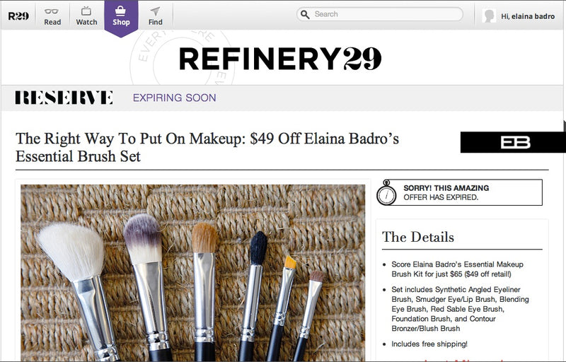 Refinery29-Reserve RUNS a DEAL on ELAINA BADRO MAKEUP BRUSHES!