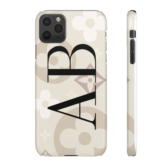 PERSONALISED - INITIALS -  BEIGE SHADES FLOWER PHONE CASE