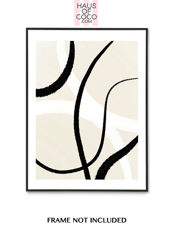 BEIGE BLACK WHITE ABSTRACT ART