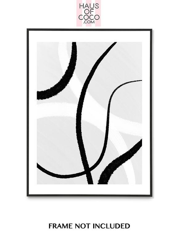 GREY BLACK WHITE ABSTRACT ART