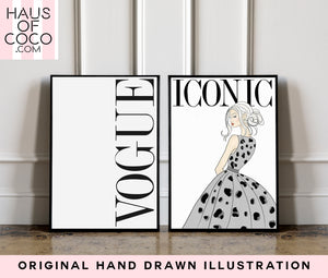 GREY LEOPARD VOGUE - SET OF 2