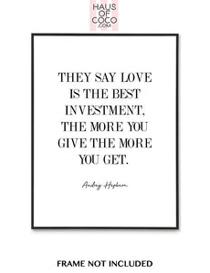 LOVE IS THE BEST INVESTMENT