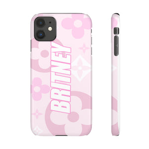 PERSONALISED - NAME - PINK SHADES FLOWER PHONE CASE
