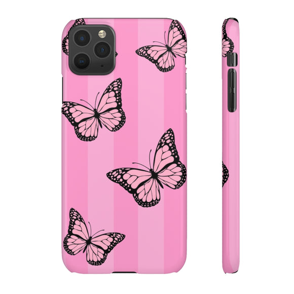 PINK STRIPE BUTTERFLIES - SLIM PHONE CASE