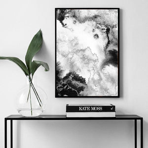 BLACK & SILVER EFFECT ABSTRACT ART