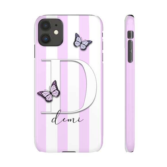 PERSONALISED -  NAME -  LILAC STRIPE BUTTERFLY PHONE CASE