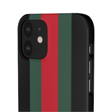 PERSONALISED -  NAME -  GREEN/RED STRIPE - BLACK PHONE CASE