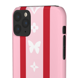RED/PINK STRIPE LV BUTTERFLY PHONE CASE